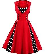 Tempt Me Women Vintage 1950s Polka Dot Sleeveless Rockabilly Swing Dress