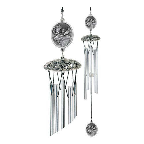 1pc, Pewter Moose Wind Chimes