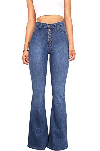 Women's Juniors Trendy High Waist Slim Denim Flare Jeans Bell Bottom Pants Blue, Light Blue, 0 / 2