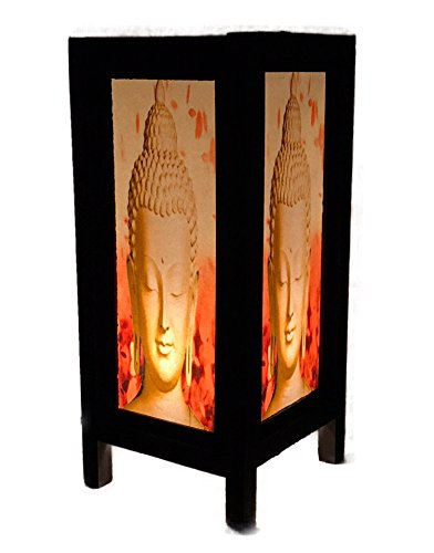Thai Decorated Wood Table Lamp Bedside Desk Lamp Buddha Red Tibet, Good Fortune Lamp, Colorful Lights Ancient Modern ()