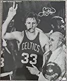 Larry Bird and Red Auerbach Cigar Celebration 16x20 Autographed Photograph with Trophy