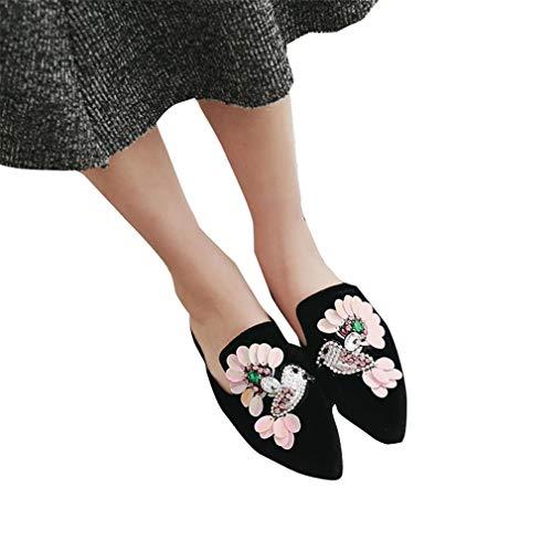 Pantoufles Femmes pour Brodées Et avec Fleurs Chaussures Black YUCH HBPEqwxIP