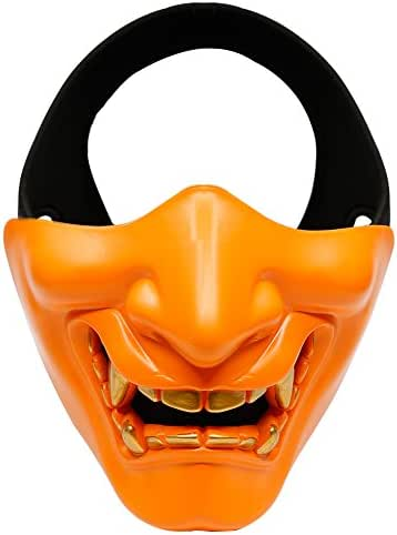 IronMount Half Face Mask Halloween Masks for Christmas, Cosplay, Costume Party, Hunting, Shooting, CS Game (Orange)