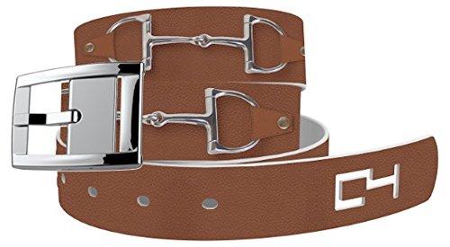 C4 Big Bits Classic Tan Fashion Belt with Silver Buckle - Equestrian Horseback Riding Belt for Women