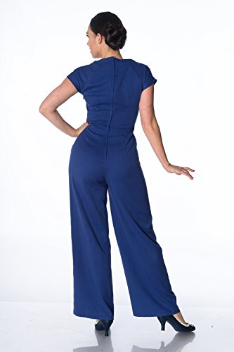 Retrò Vintage O '50 Nero Blu Scuro Reale Giocoso Blu Anni Playsuit Stile qp541Fwx1