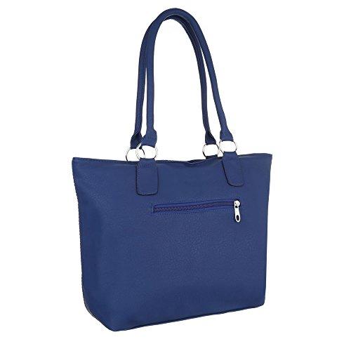 Ital-Design - Bolso de asas de Material Sintético para mujer azul oscuro