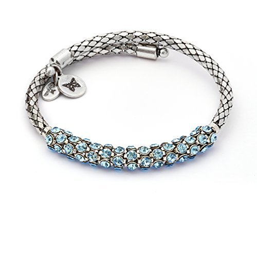 Bohemia Energy Aquamarine Crystal Wrap Bangle Bracelet, Rhodium Silver  Plated