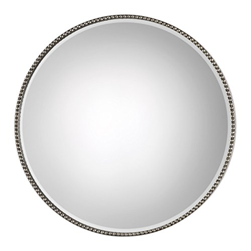 - Beaded Round Silver Wall Mirror   Vanity Minimalist Simple