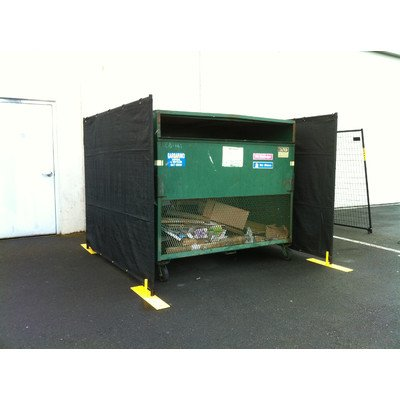 Crowd Control Temporary Fence Panel Kit - Perimeter Patrol Dumpster Enclosure (3 sides) - Includes black screen mesh for blocking unsightly dumpsters or trash areas. 7.5'W x 6'H - 3 Panel Kit black