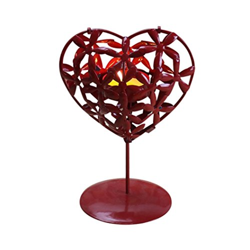 (Tuscom Love heart Shaped Candlestick, Hollowed Iron Stencil Candle Holder Stands Platform ,Home Holiday Adornment decor Valentine's Day Gift (Red, 5.1×0.9×3.45 Inch))