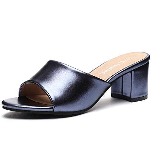 CINAK High Heeled Sandals Slippers Womens- Summer Slip-on Casual Slide Mules Comfort Shoes ()