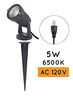 J.LUMI LED outdoor spotlight 5W, 110-120V AC, 3000K warm white, metal ground stake, Corded with Plug UL listed, 1 and 2 pack