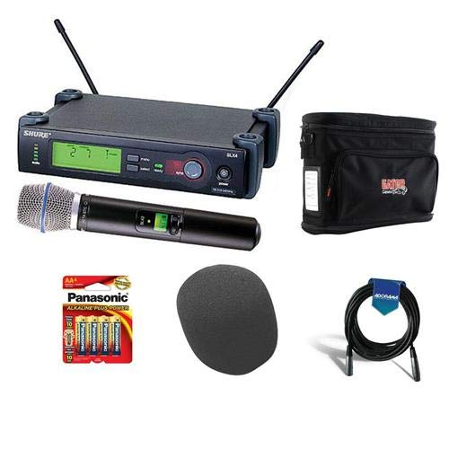 Shure SLX24/BETA87C-J3 Wireless Microphone System (J3/572-596 MHz) with SLX4 Receiver, SLX2 Transmitter and Beta 87C Mic - Bundle with Gator GM-1W Wireless System Bag, On-Stage Foam Windscreen, More ()
