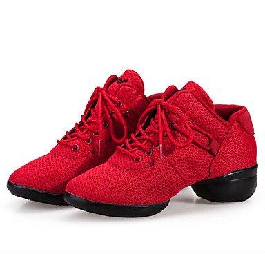 Botas de la mujer confort tela primavera verano otoño invierno al aire libre caminando Fashi vestir casualEn botas de tacón Chunky Polka Dot1en rojo y negro-1 Ruby