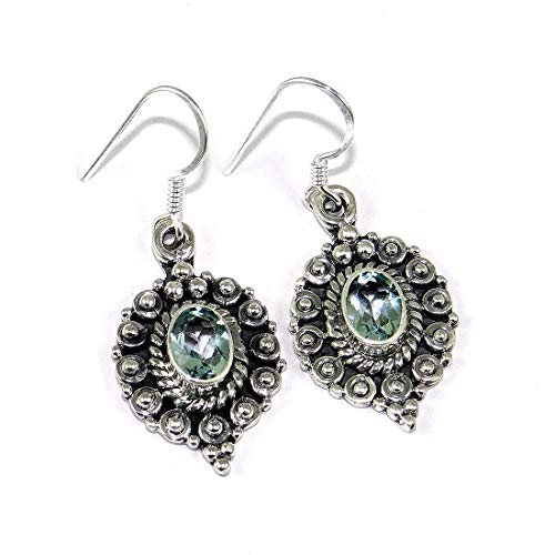 - Natural Blue Topaz With Solid 925 Sterling Silver Dangle Earring RSE08