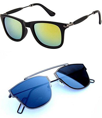 481a1d906b Mr. Brand Sunglasses Combo 2 of Golden Stick Wayfarer Rubber Temple for  Boys Girls Womens