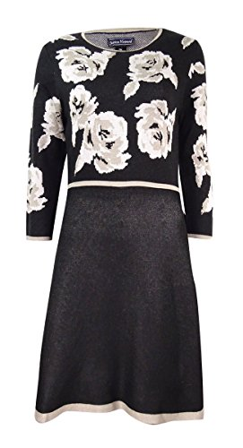 Jessica Howard Womens Knit Contrast Trim Sweaterdress Black XL