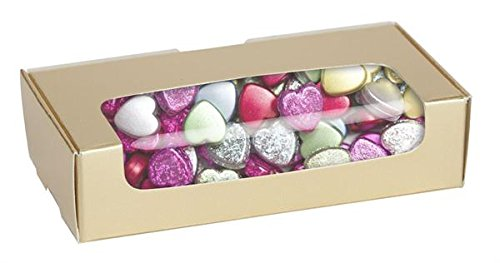 2 lb GOLD Tuck Top Candy Box with Window - Case of 250