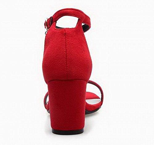 Rouge Couleur d'orteil Talon Boucle AalarDom Ouverture Correct à Femme TSFLH006977 Sandales Unie wPTqU