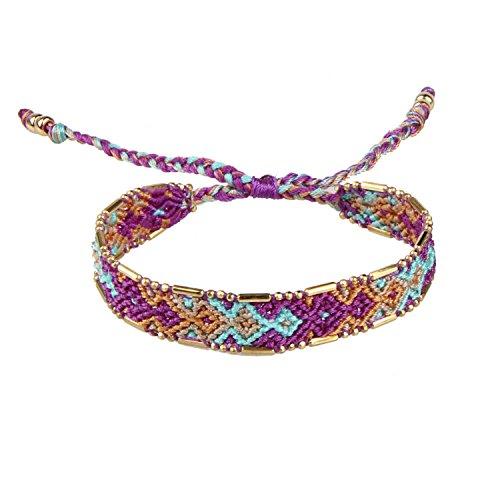 Purple/Blue/Orange Boho Handmade Woven Braided Friendship Bracelet Wristband