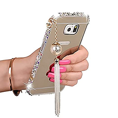 Rejected all traditions Luxury Bling Elegant 3D Tassels Pendant Diamonds Aluminum Metal Bumper Frame Case with Mirror Back Plate Cover for Samsung Galaxy Note 4 - (Note 4 Case Of Rats)