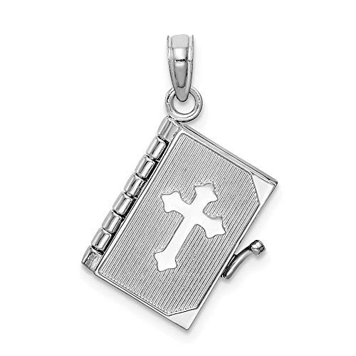 14K White Gold Charm Pendant, 3-D Bible Book with Religious Themed Cross Cover, Moveable ()
