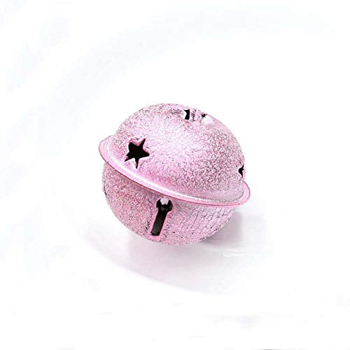 - HOUTBY 10pcs Jingle Bell Colored Bells with Star Cutouts DIY Craft Pet Pendants Holiday Party Decoration or Key Chain 4CM, Shiny Pink