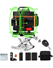 Laser Level, Elikliv 360° Vertical and 360° Horizontal Green Beam Light Laser Level Self Leveling with Rechargeable Battery,Lifting Platform BaseTool for Home Improvement