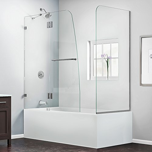 DreamLine Aqua Lux 56-60 in. Width, Frameless Hinged Tub Door, 5/16