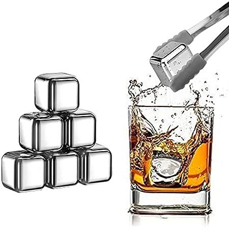 KAMEUN 8 piedras de hielo reutilizables, cubitos de hielo de acero inoxidable, cubitos de hielo multifuncionales no diluidos, utilizados en whisky, cócteles, vodka, clip antideslizante + caja