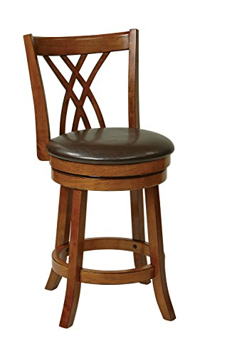 Metro Counter Stools (Office Star Metro Faux Leather Seat and Back Round Swivel Barstool with Footrest and Walnut Finish Wood Frame, 24-Inch, Espresso)