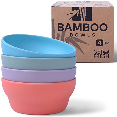 Get Fresh Bamboo Bowls 4 Pack, Eco-Friendly dinnerware set, Non-toxic Bamboo dinnerware, BPA Free (Multiple Colors), Bamboo Fiber Bowls for Healthy Dining