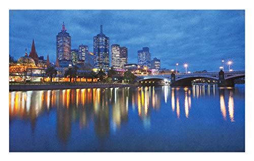 Lunarable Australia Doormat, Skyline of Melbourne City with Reflections on Water at Night with Dramatic Sky, Decorative Polyester Floor Mat with Non-Skid Backing, 30
