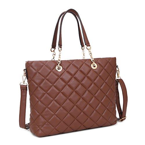 Dasein Women's Designer Quilted Tote Bag Shoudler Bag Satchel Handbag Large Purse with Strap (Brown) ()