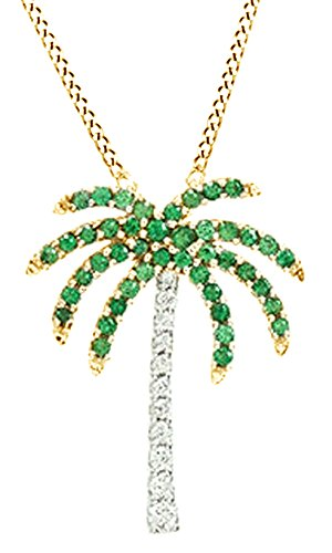 Simulated Emerald & (0.08 cttw) White Natural Diamond Accents Palm Tree Pendant Necklace In 14k Yellow Gold (White Gold Palm Tree Necklace)
