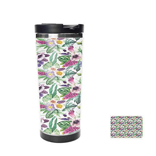 Garden Art Design Colorful Composition with Calla Lily Anemone Petals and Leaves Travel Mug for Coffee & Tea,Drinking Cup, Coffee Mug,Thermos Cup 14oz