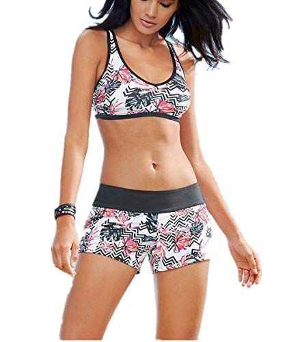 Women's Sporty Print Two Piece Swimsuits Racerback Crop Top Boyshort Bottom (S, Print)