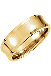 14k Yellow Gold Men's 7.5mm Satin Finish Concave Comfort Fit Wedding Band