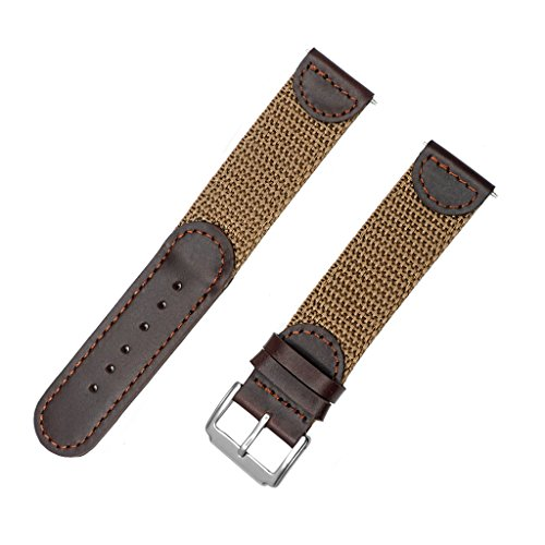 IVAPPON Men's Calfskin Leather and Nylon NATO Watch Strap Swiss-Army Style Watch Band (Brown with Khaki, 18mm)