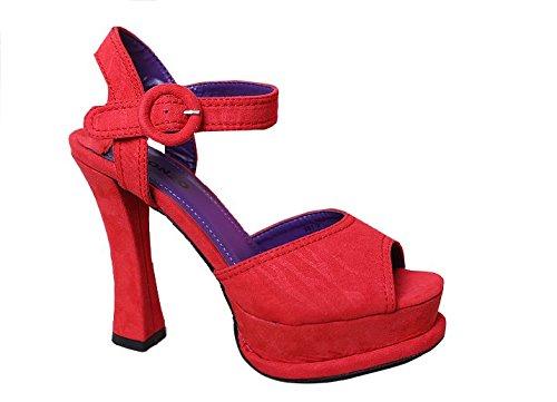 Women's chunky heels Spike High Heel Platform Strap Sandals Size 6-8.5 red sandal heels