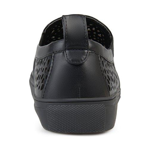 Sneaker Con Taglio Laser In Pelle Sintetica Brinley Co Donna Nero