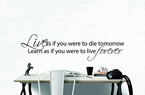 My Vinyl Story Mahatma Gandhi Live Inspirational Motivational Wall Art Decal Quote for staying Inspired, Motivated, Focused, Positive, Office Wall Decor Vinyl Words Sayings Encouragement Gift 36x10 (Mahatma Gandhi Quote Sticker)