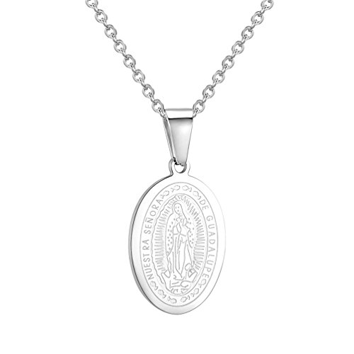Medallion Mary Religious - PROSTEEL Guadalupe Necklace,Mother Mary Medallion,Oval Pendant Chain,Religious Christian Jewelry Women Men, 316L Stainless Steel
