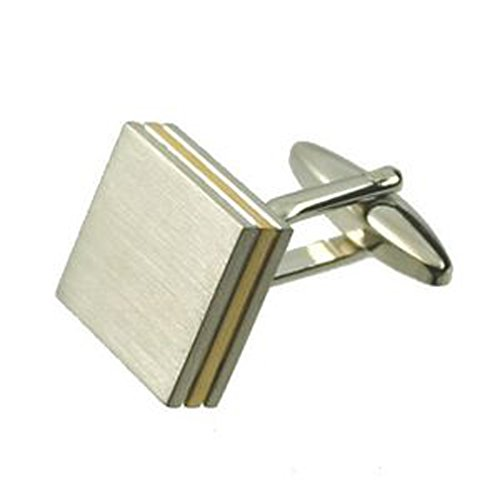 Select Gifts Pair Layered Silver-Tone & Gold-Tone Square Cufflinks Optional Engraved Personalised Box ()