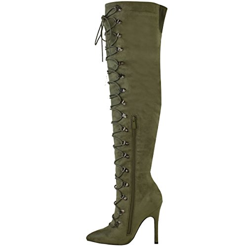 Mode Soif Femmes Cuisse Haut Au-dessus Du Genou Talon Stiletto Bottes Lacets Chaussures Taille Kaki Vert Faux Daim