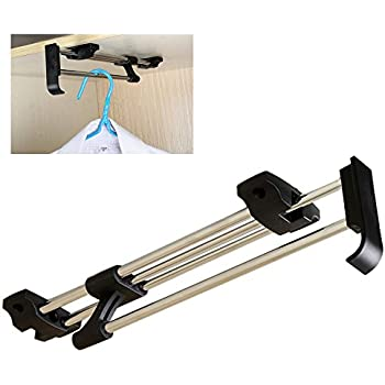 ZJchao Heavy Duty Retractable Closet Pull Out Rod Wardrobe Clothes Hanger  Rail Towel Ideal For Closet