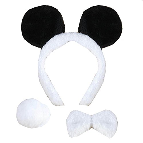 3PCS Animals Cute Headband Party Costume, Ear with Tail Tie (Panda)