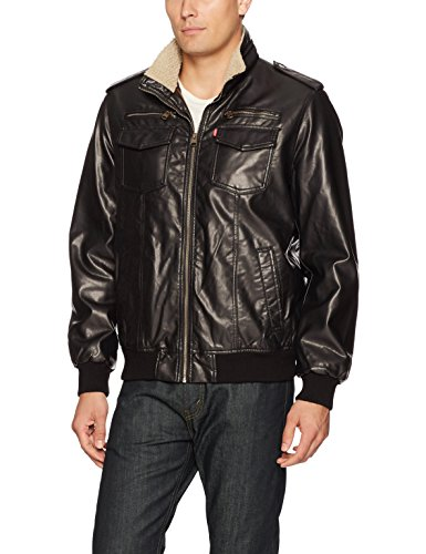 Levi's Men's Vintage Deer Faux Leather Sherpa Lined Aviator Bomber, Dark Brown, XX-Large (Lined Aviator)