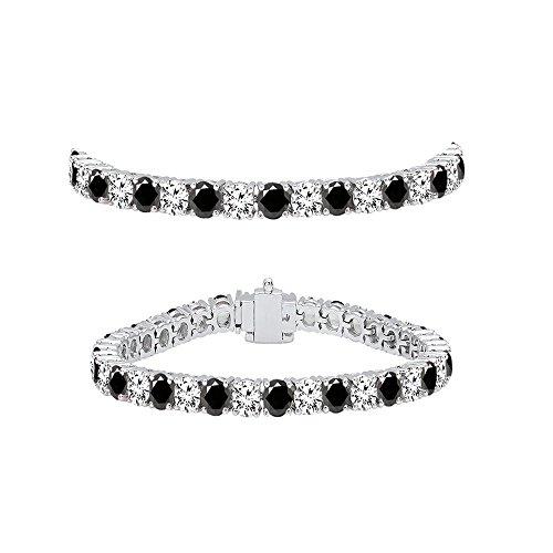 5 Ct Round Diamond (5.00 Carat (ctw) 10K White Gold Round Cut Black And White Diamond Ladies Tennis Bracelet 5 CT)