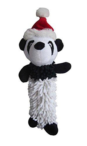 Iconic Pet Christmas Panda Noodle Plush Stuffed Squeaky Holiday Pet Dog - Toy Panda Dog